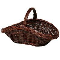 Корзина для дров плетёная овальная из тёмной лозы