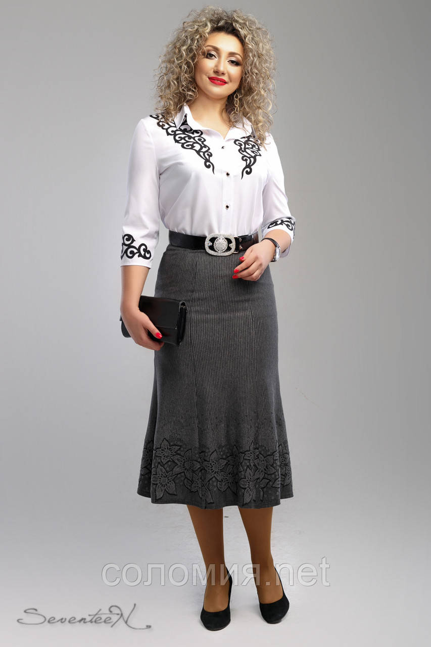Великолепная строгая трикотажная юбка с принтом 48-58рр