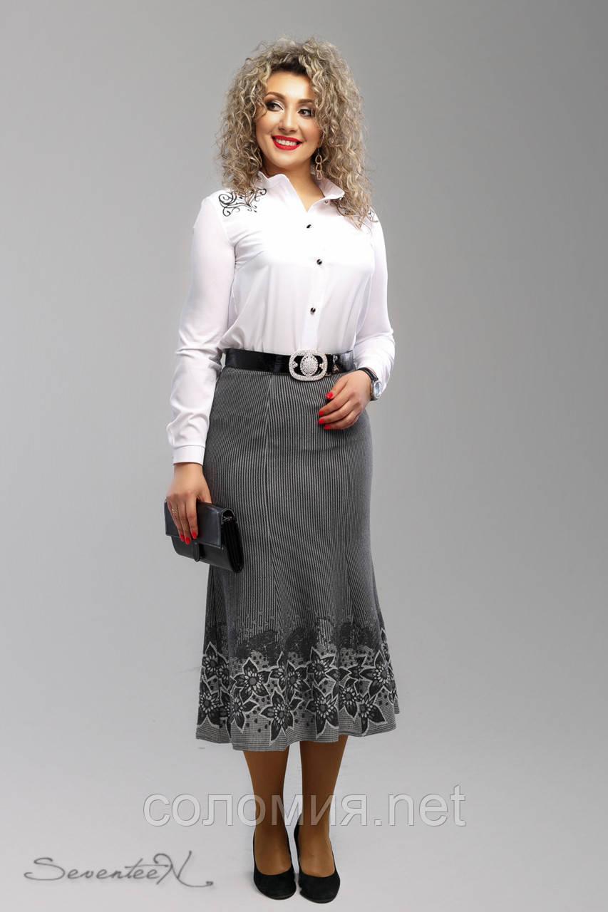 Эффектная трикотажная юбка с цветочным принтом 48-58рр