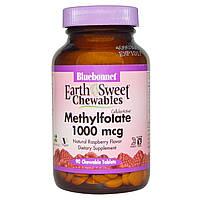 Bluebonnet Nutrition, Жевательные таблетки EarthSweet, Cellular Active L-метилфолат, натуральным малиновым вку
