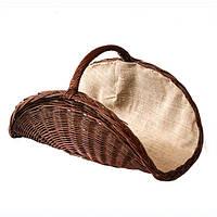 Корзина для дров плетёная овальная из тёмной лозы с тканью