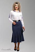 Красивая женская трикотажная синяя юбка с принтом 48-58рр
