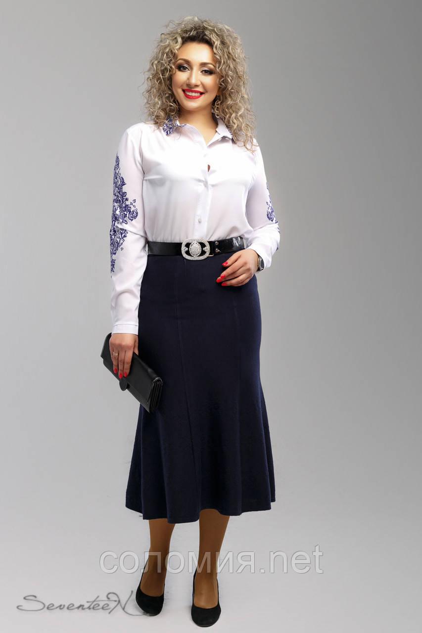 Красивая женская трикотажная темно-синяя юбка 52-58рр