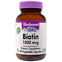 Bluebonnet Nutrition, Биотин, 1000 мкг, 90 вегетарианских капсул