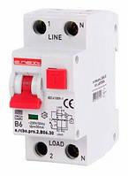 Выключатель дифференциального тока с функцией защиты от сверхтоков e.rcbo.pro.2.B06.30, 1P+N, 6А, B, тип А, 30