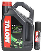 Акция Масло моторное Motul 5100 4T 10W-40 4л + Смазка для цепи Motul С2+ Chain Lube Road Plus 100мл