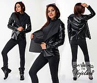 Стильная черная  перфорированная  короткая курточка. Арт-9922/41
