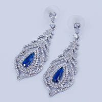 """Серьги гвоздики """"Перо павлина"""" с синими кристаллами и цирконием"""
