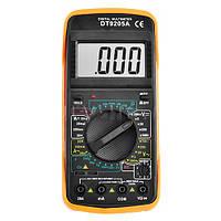Цифровой мультиметр DT9205A, регулируемый ЖК-экран, два щупа, зуммер, подставка, кожух, 195х90х55 мм