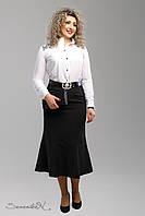 Классическая деловая женская юбка с вышивкой черная 50-56рр