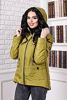 Женская демисезонная куртка цвета красного золота  В-925 Лаке Тон 113 44-58  размер