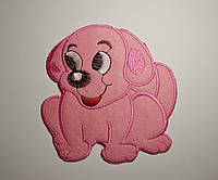 Аппликация клеевая собачка розовая 12*12 см термоаппликация