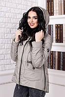 Женская демисезонная светло-серая    куртка В-925 Лаке Тон 55 44-50  размер