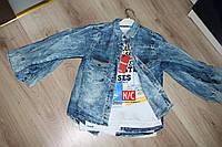 Модная детская рубашка+футболка из тонкого джинса