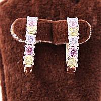 Серьги-кольца xuping с разноцветными камнями