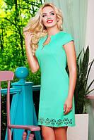 42,44,46,48,50 размер Красивое женское платье Беттина мята голубое батал летнее короткое с перфорацией деловое