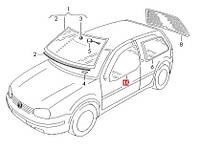 Стекло двери VW Golf IV ( 2-дв.) переднее правое