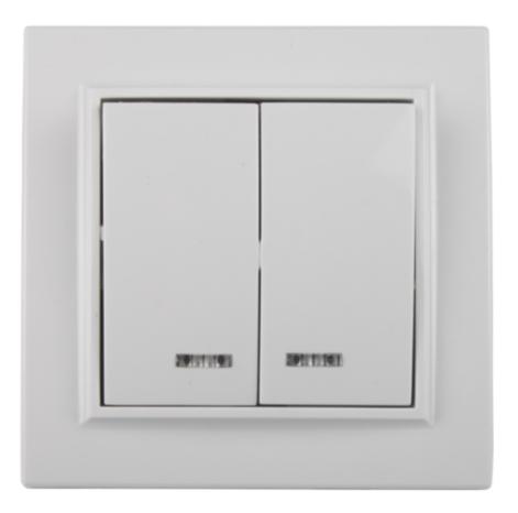 Выключатель двойной с подсветкой белый ElectroHouse ЕН-2104 Enzo