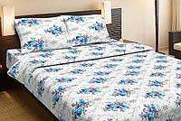 Красивое хлопковое односпальное постельное белье Lotus LOISE V1 синий LT12
