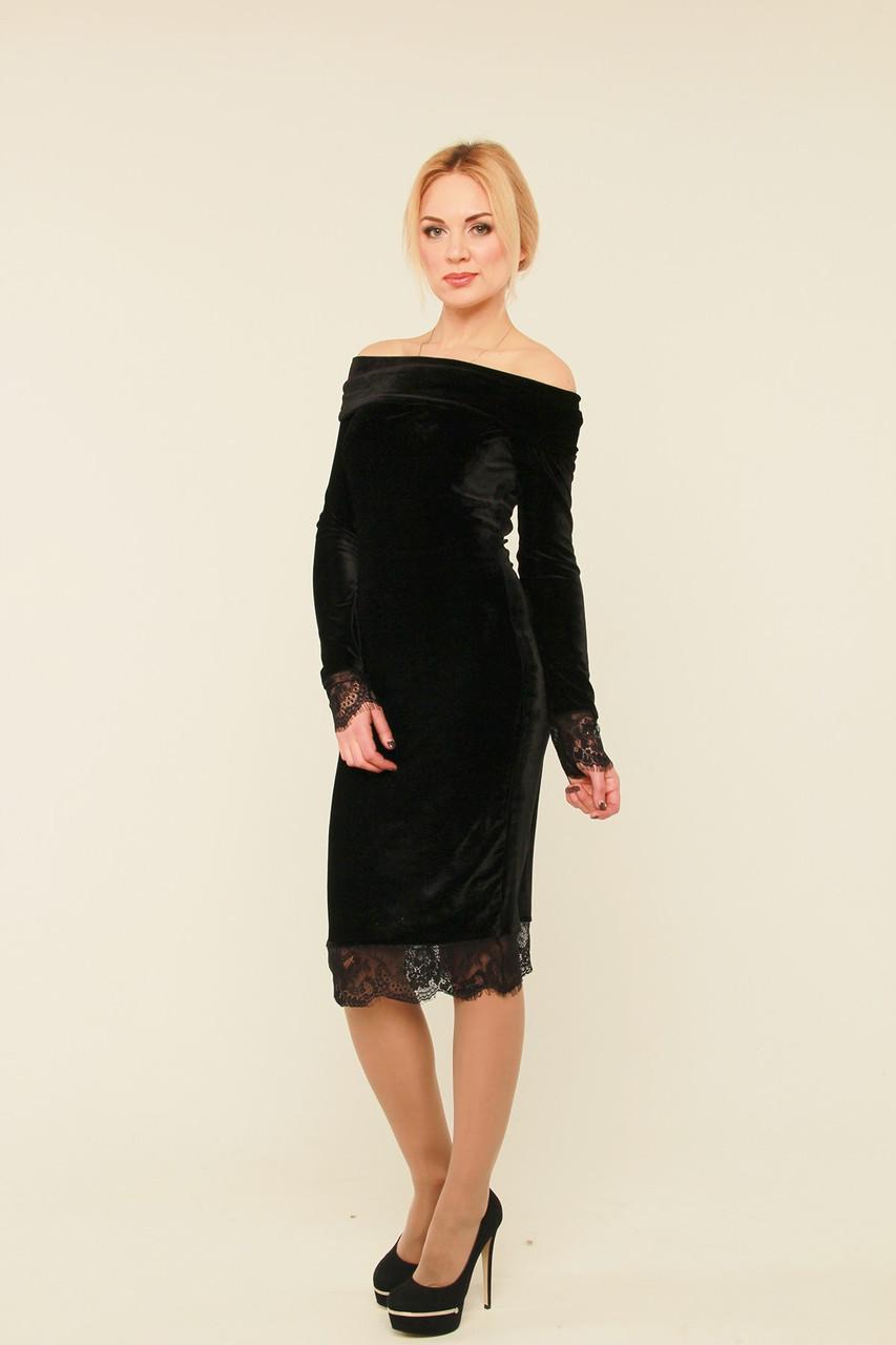 1105b7efb3b Платье из бархата с открытыми плечами Касандра - 630 грн. Купить в ...