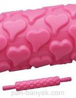 """Скалка текстурная """"сердце"""" длина 25 см пластик Empire"""