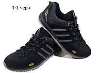 Кроссовки  черные натуральная кожа на шнуровке (Т-1)