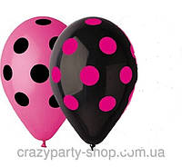 Набор шаров воздушных розовый и чёрный в горох