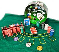 Покерный набор (2 колоды карт,200 фишек,сукно)(d-25,h-9 см)(вес фишки 4 гр. d-39 мм)