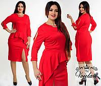 Красное трикотажное платье больших размеров с колье. Арт-9926/41