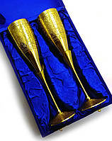 Бокалы бронзовые позолоченные  (н-р 2 шт/170мл.)(h-25 см)(26,5х18х9 см)