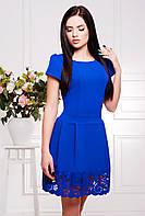 42,44,46,48,50 размер Красивое платье Донна электрик синее деловое летнее весеннее с перфорацией женское