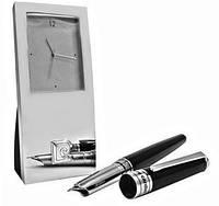 Настольный набор часы и перьевая ручка PIERRE CARDIN PR2606