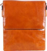 Стильная кожаная мужская сумка WHEAT007-5, рыжая