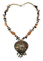 """Ожерелье с каменьями агата и кулоном """"Капля"""""""