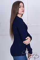 """Свитер женский легкий вязанный """"Розалия"""" темно-синий"""