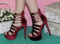 Босоножки велюровые на высоком каблуке марсала бордо