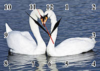 "Часы настенные ""Пара лебедей"" стеклянные кварцевые"