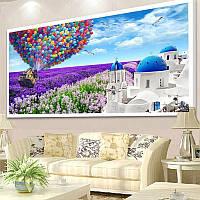 """Картина для рисования камнями Diamond painting Алмазная вышивка """"Домик и воздушные шары"""", фото 1"""