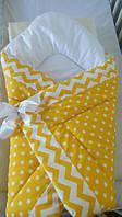Оригинальный конверт-одеяло для новорожденного малыша. Желтый в горох