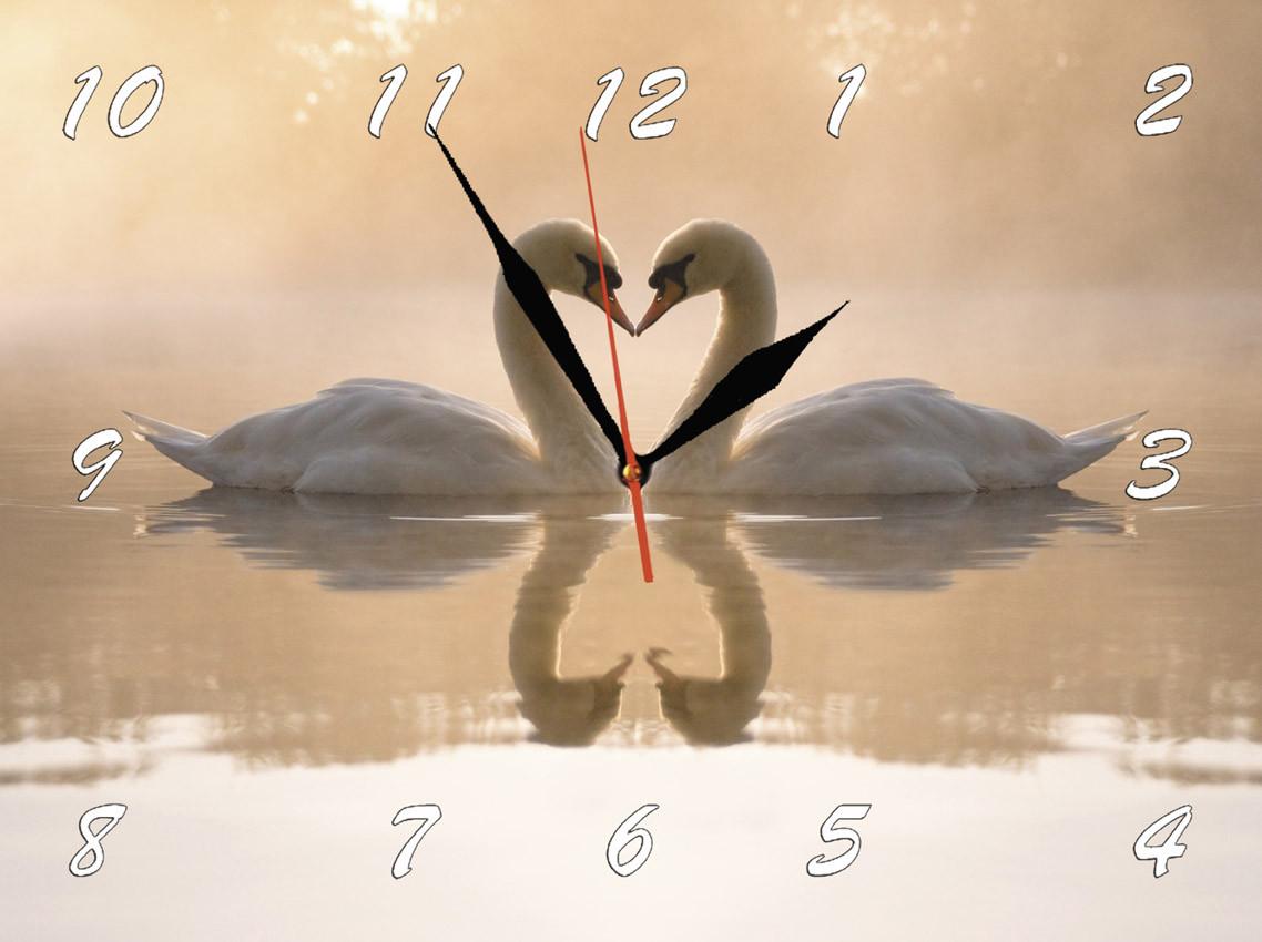 """Настінні годинники """"Лебеді в тумані"""" кварцові"""