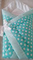 Оригинальный конверт-одеяло для новорожденного малыша. Мята в крупный горох