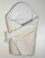 Оригинальный конверт-одеяло для новорожденного малыша. Бежевый в мелкий горох