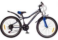 """Велосипед 24"""" Formula FOREST AM 14G  Vbr  рама-12,5"""" St чёрно-синий  с крылом Pl ST-EF500 2017"""
