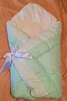 Оригинальный конверт-одеяло для новорожденной девочки. Мята, мелкий горох