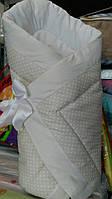 Оригинальный конверт-одеяло для новорожденной девочки. Бежевый в мелкий горох