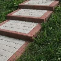 Тротуарная плитка Золотой Мандарин Старый город 120х80 мм белый на сером цементе