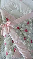 Оригинальный конверт-одеяло для новорожденной девочки. Сердечки для девочки