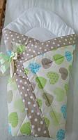 Оригинальный конверт-одеяло для новорожденного малыша. Сердечки салат