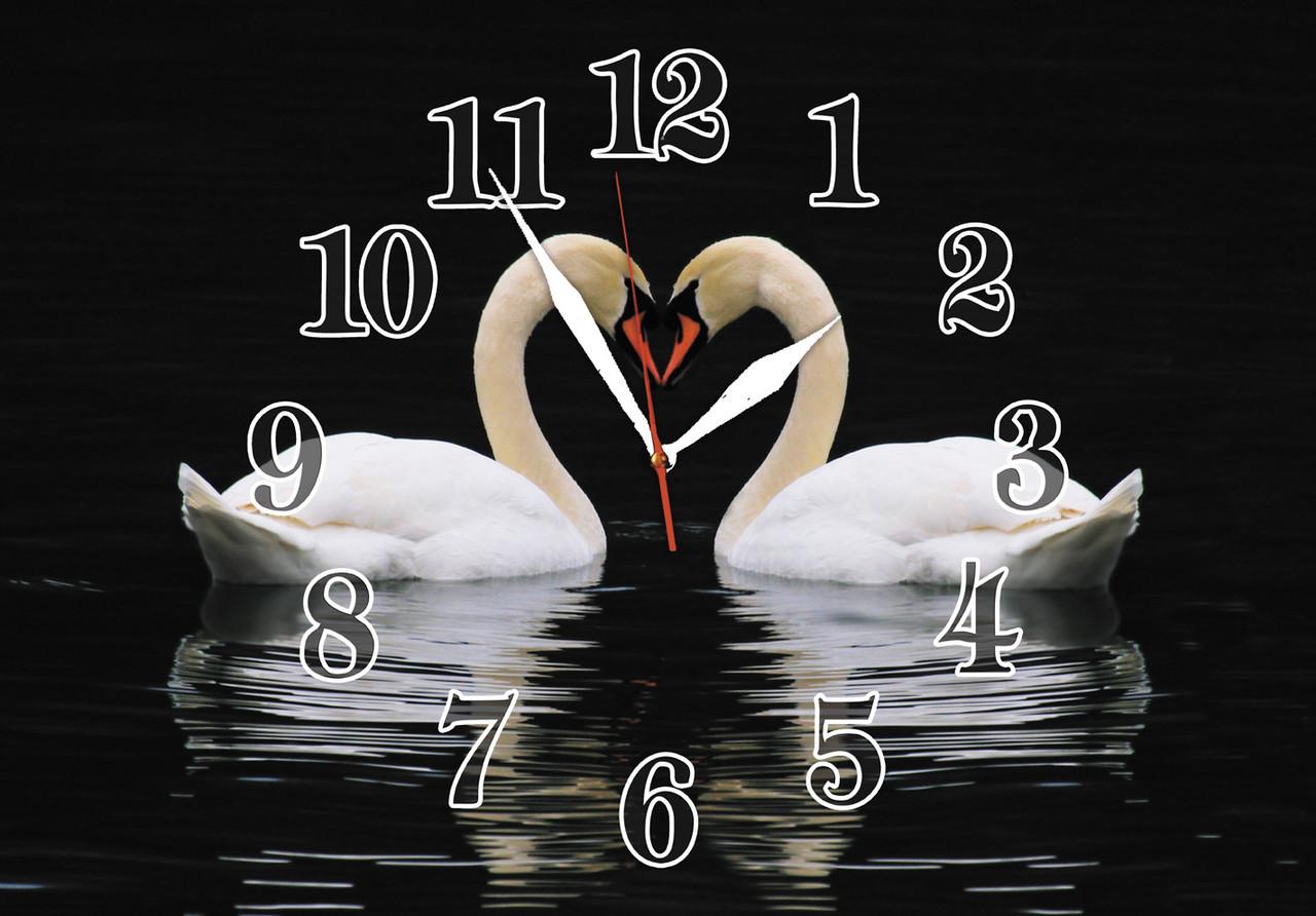 """Часы настенные """"Белые лебеди"""" стеклянные кварцевые"""
