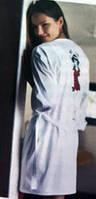 Пеньюар-халат белый с запахом